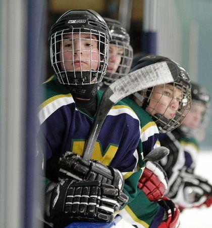 Kids in hockey uniforms