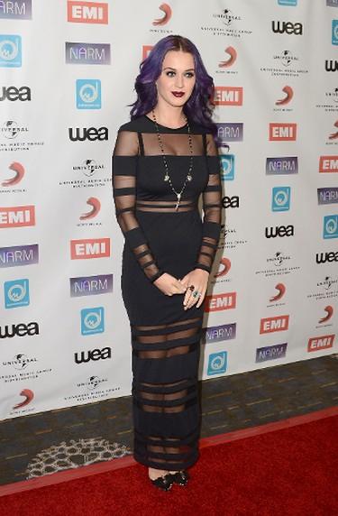Singer Katy Perry arrives at the NARM Music Biz Awards dinner party held at the Hyatt Regency Century Plaza on May 10, 2012 in Century City, California.   Jason Merritt/Getty Images/AFP