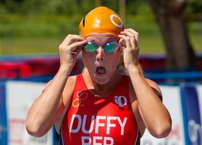 Flora Duffy adjusts her goggles at the start of the ITU World Cup Circuit at Hawrelak Park in Edmonton, Alberta on Sunday, July 8, 2012.   AMBER BRACKEN/EDMONTON SUN/QMI AGENCY