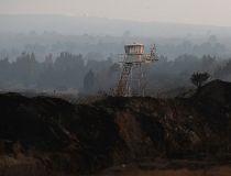 U.N. observation tower is seen overlooking Syria