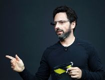 Sergey Brin wears Google Glass