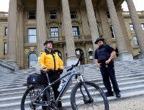 Extra security on hand at the Alberta Legislature in Edmonton
