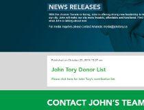 JOhn Tory  donors