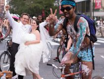 Naked Bike Ride wedding shoot