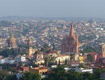 General view shows landmark churches of San Miguel de Allende