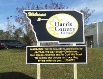 Harris County, Georgia politically incorrect sign