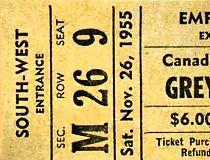 A ticket for the 1955 Grey Cup Edmonton Eskimos