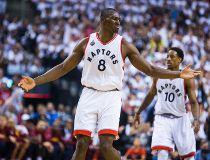 Toronto Raptors Bismack Biyombo and DeMar DeRozan