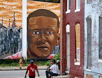 A mural depicting Freddie Gray