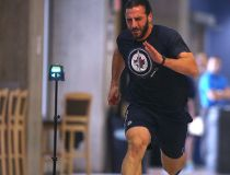 Winnipeg Jet Chris Thorburn at training camp Thursday.