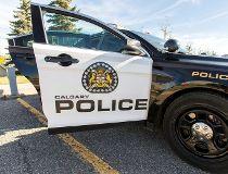 Calgary black and white police car