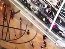 Surveillance video shows an escalator in Hong Kong suddenly reverse.