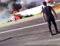 Passenger video of a Peruvian Airlines flight catching fire upon landing.