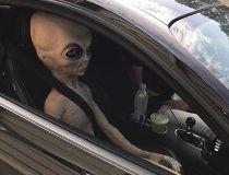 Alien in car